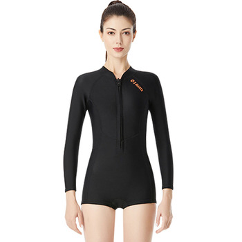 Perfeclan Women Bikini Long Sleeve Diving Swimming Suits One Piece Warm Snorkeling Zip Elastic Neoprene Wetsuit Female 1