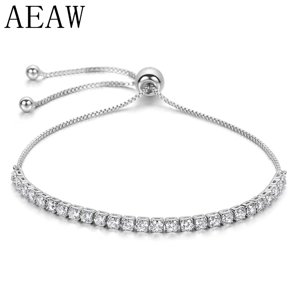 AEAW 14K 585 Solid White Gold Adjustable Chain Bracelet for Women 2.6CTW Moissanite EF Color VVS chic solid color round coin bracelet for women