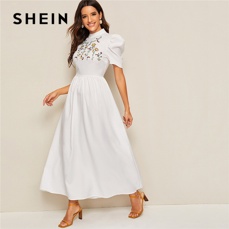 SHEIN Mock Neck Flower Embroidered Puff Sleeve Maxi Dress Women Modest High Waist A Line White Dress Ladies Summer Long Dresses