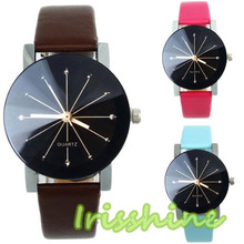 Irisshine #7026 Mulheres relógio de Quartzo Mostrador de Relógio de Couro Relógio de Pulso Rodada Caso relogio masculino