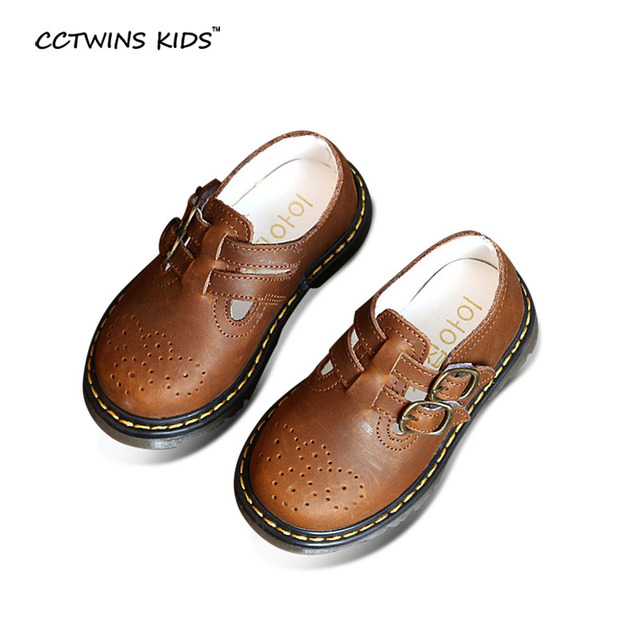 CCTWINS KIDS spring autumn children fashion breathable shoe baby girl brand brown shoe for toddler genuine leather flats boy