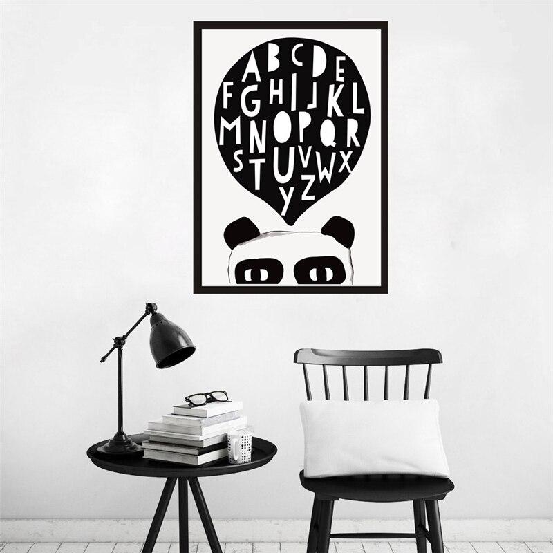 Haochu Прекрасный Panda мышления английского алфавита узнать холст картины типографии нефти плакат детей Детская комната Декор без Рамки