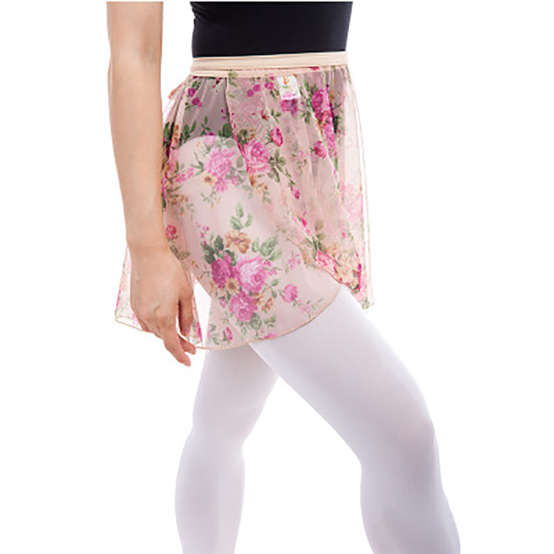 Hot Selling Girls Printing Flowers Ballet Wrap Skirt Women  Dance  Adult Spandex Chiffon Waist  Dress Free Size