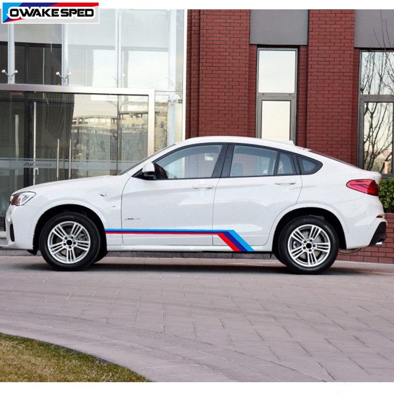 Car Door Side Sticker Tricolor Stripes Performance Vinyl Decal Auto Body Exterior Accessories For BMW X3 X4