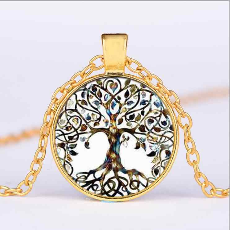 Tree Of Life Statement Necklace Art Photo Glass Cabochon Pendant Charm Women Mujeres Choker Necklaces Bijoux Brincos N5060