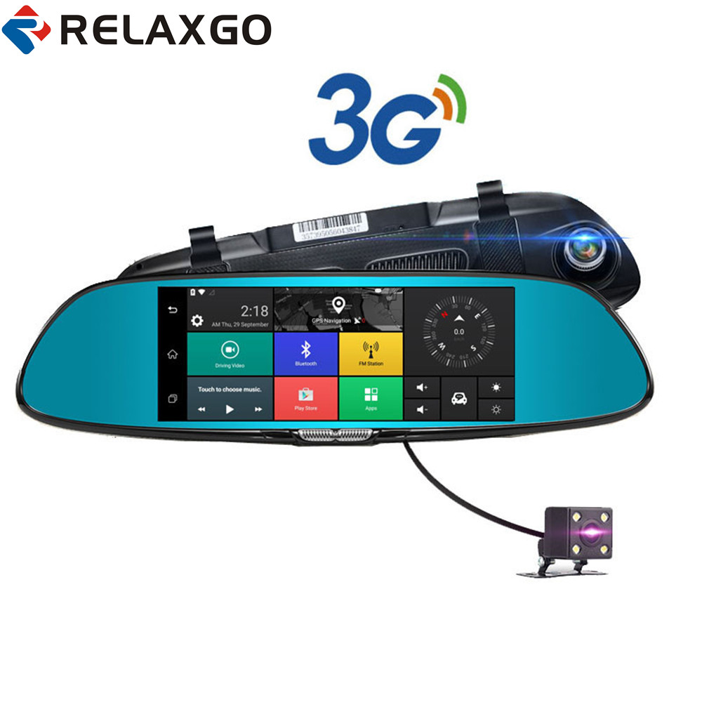 Relaxgo 3G 7 inch Android Car Camera GPS Navigation Bluetooth Car DVR Wifi Video Recorder Dual Lens Dash Cam Full HD 1080P 2 7 inch r310 tft lcd dual 2 lens car dvr video recorder