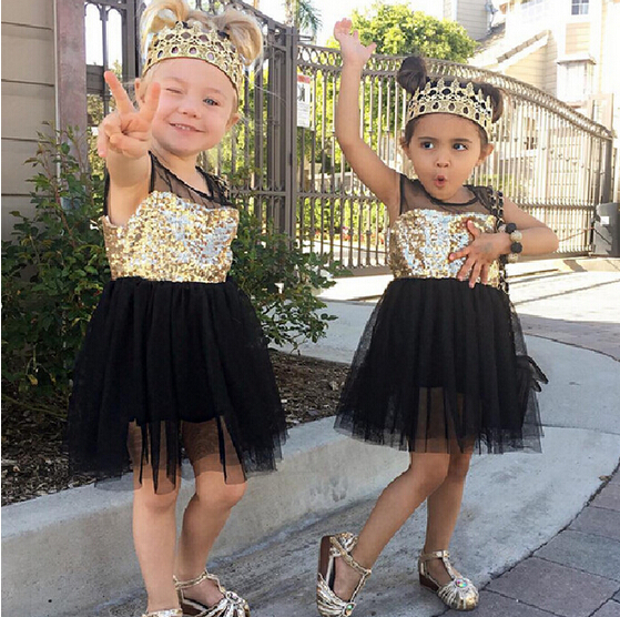 New Baby Kids Girls Toddler Princess Dresses Clothing Pageant Party Black Sequined Lace Mini Gold Formal Clothes Girl Dress 1