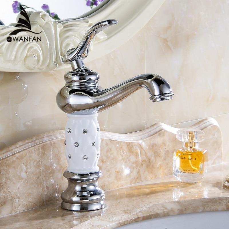 Смеситель для раковины хром Ванная раковина кран креативный дизайн кристалл Бортике горячей и холодной воды одно отверстие Смесители 815L