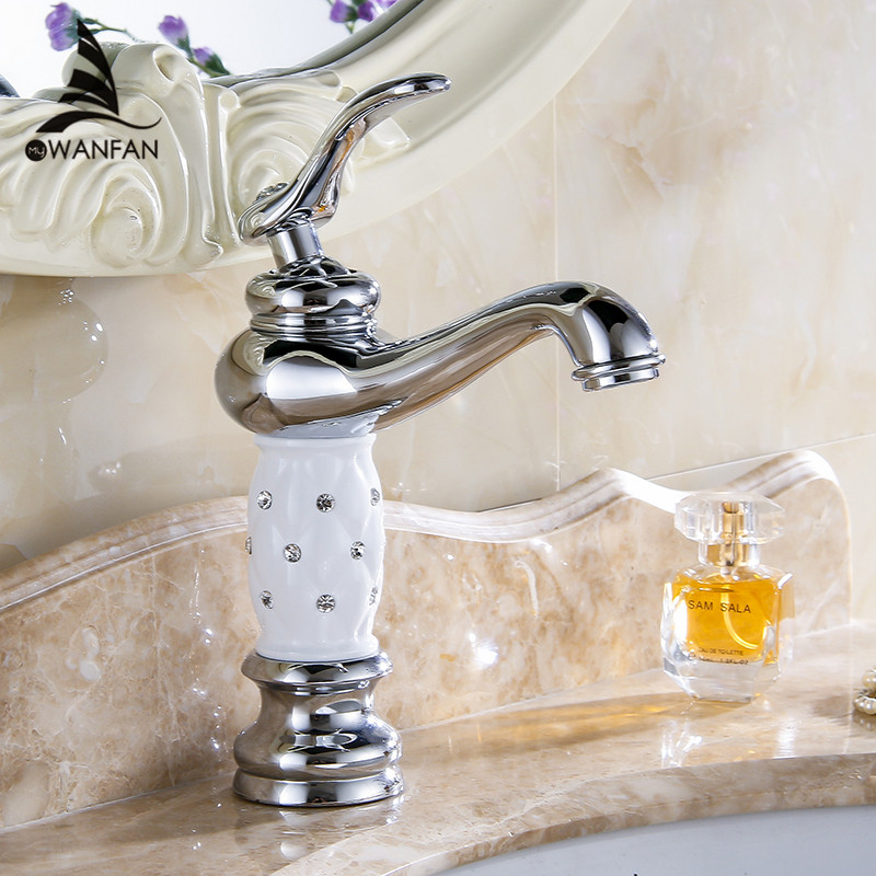 流域水栓クローム浴室のシンクの蛇口クリエイティブデッキは温水と冷水単穴ミキサータップ 815L  グループ上の 家のリフォーム からの 流域水栓 の中 1