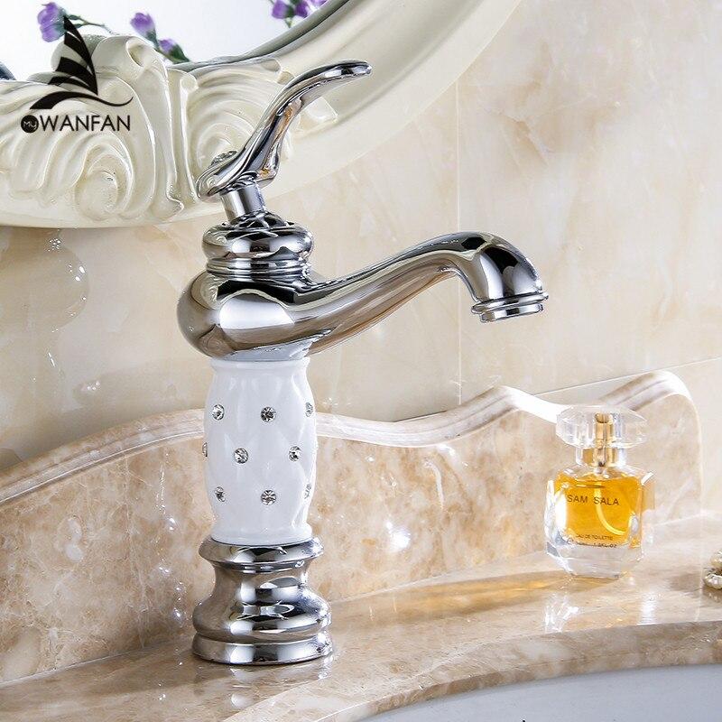 Robinets de bassin Chrome salle de bains évier robinet Design créatif cristal pont monté eau chaude et froide mitigeur monotrou robinets 815L