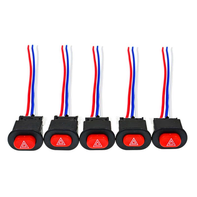 Motor Switch Saklar Lampu Tombol Double Flash Peringatan Darurat Sinyal Lampu Flasher dengan 3 Kabel Aksesoris Motor