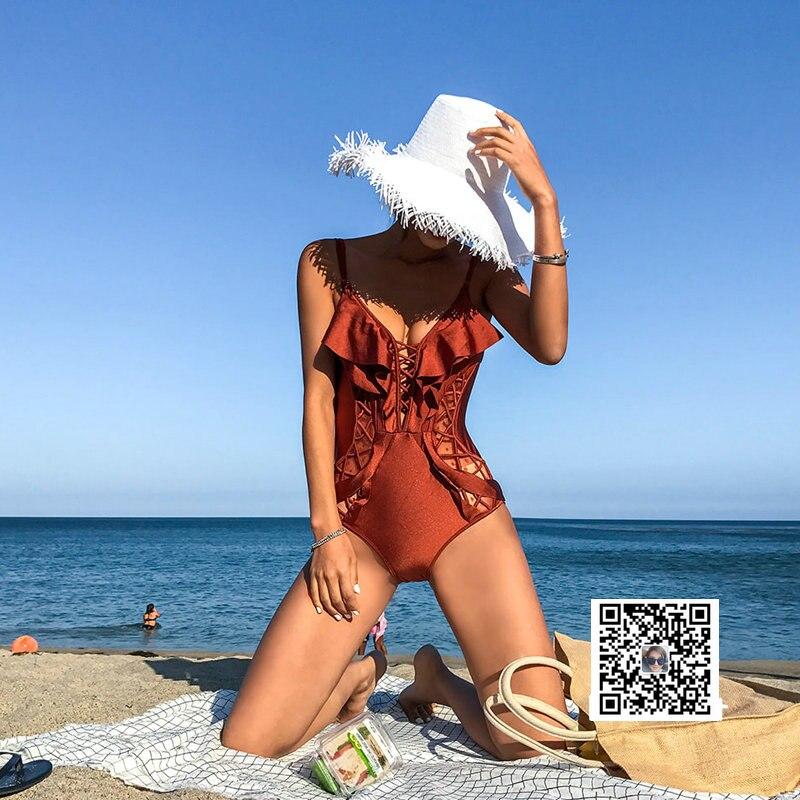 Maillots de bain femmes maillot de bain une pièce 2019 maillots de bain d'été costumes fille solide coton Sierra Surfer femme Bikini