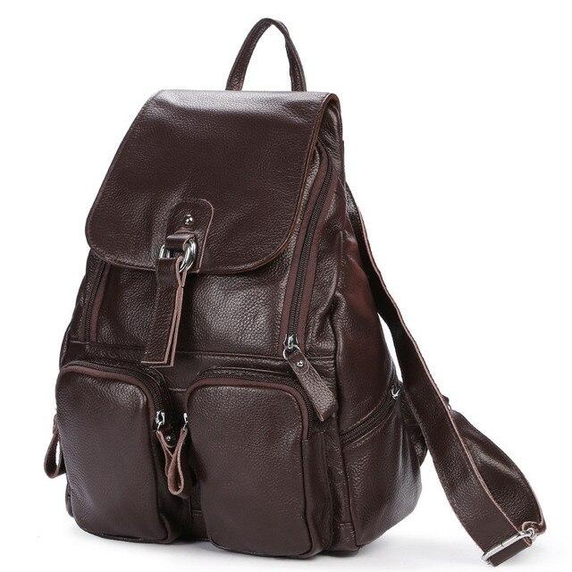 Женский рюкзак из натуральной кожи с карманами 2