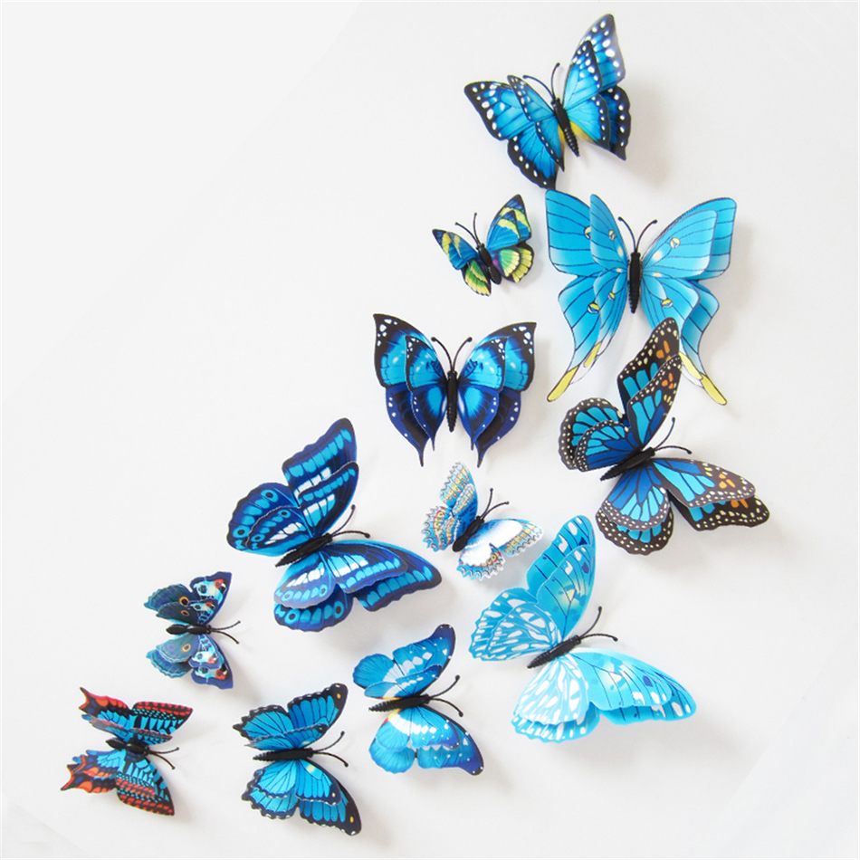 12stk Simulerte sommerfugler Wall Stickers 3D Butterfly Double Wing Wall Decor Art Decals Hjemmeinnredning for Retail & Wholesale