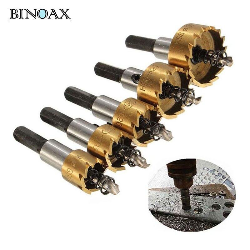 Binoax 5 Pcs Carbure Astuce HSS Foret Scie Set Métal Bois De Forage Trou Cut Tool pour L'installation de Serrures 16/18. 5/20/25/30mm