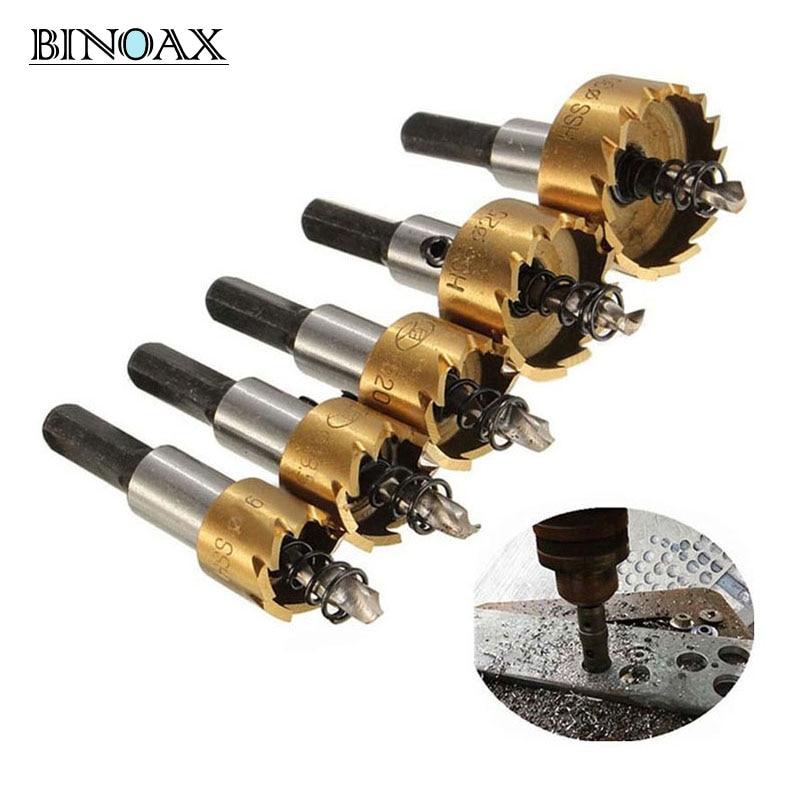 Binoax 5 pcs Ponta de Carboneto de Broca HSS Pouco Viu Conjunto De Metal De Perfuração De Madeira Corte Ferramenta Buraco para A Instalação de Fechaduras 16/18. 5/20/25/30mm