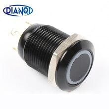 Black Push Button Switch 4 Pin 12mm Waterproof Led Light Metal Flat Momentary Switches 12HX.F.BK.C