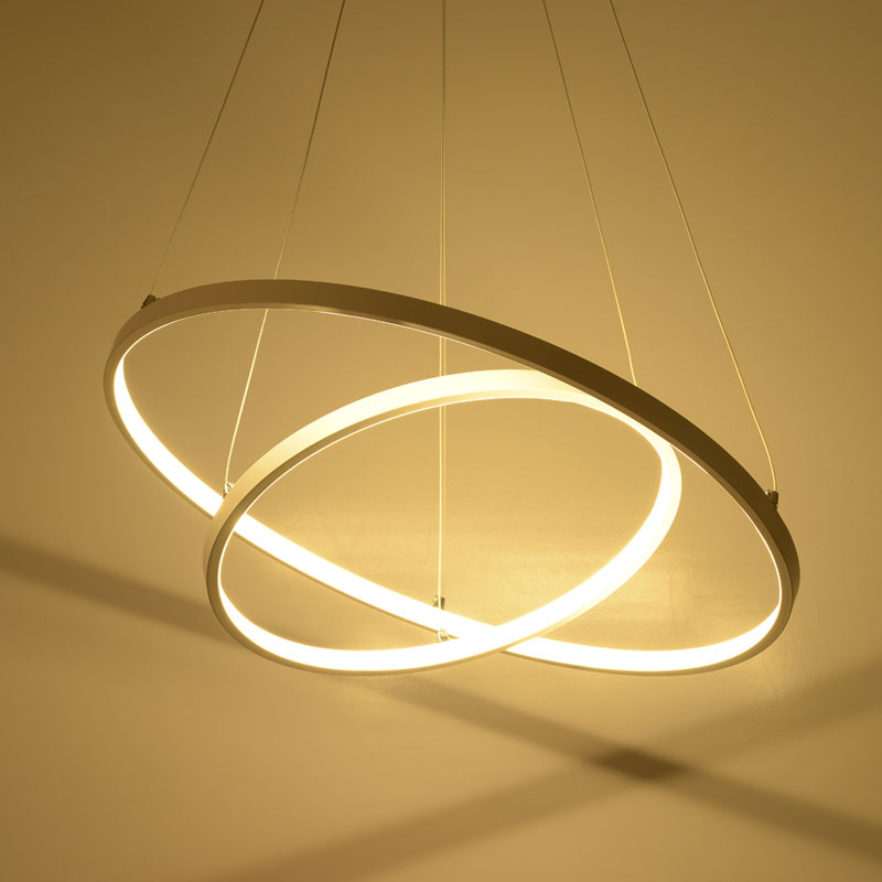 Modern simple LED pendant lights 3 circle rings acrylic aluminum body hanging lamp for home office decoration lighting fixtures circle