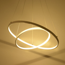 Modern simple LED pendant lights 3 circle rings acrylic aluminum body hanging lamp for home office decoration lighting fixtures цены