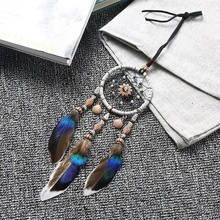 Creative Car Pendant Dreamcatcher Gift checking Dream Catcher Net With natural stone Feathers Wall Hanging Decoration Ornament Z