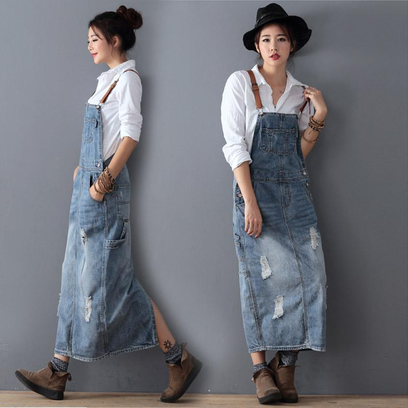 Vintage Loose Denim Strap Dress RIPPED DENIM OVERALL DRESS Ladies Suspenders With Holes Bib Jeans Female Plus Size One Piece