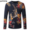 2017 Spring and Autumn men sweater leisure knit Sika deer pattern color Men's fashion wool sweaters large size M-4XL