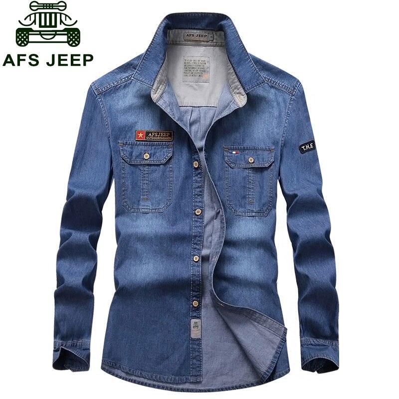 CLOTHES 2017 NEW Spring Autumn Blue Men s Denim Cotton Dress Shirts New Hombre Asia Size