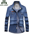 CLOTHES 2017 NEW Spring Autumn Blue Men's Denim Cotton Dress Shirts New Hombre Asia Size Blouse Vestido Clothes Casual S~ 4XL