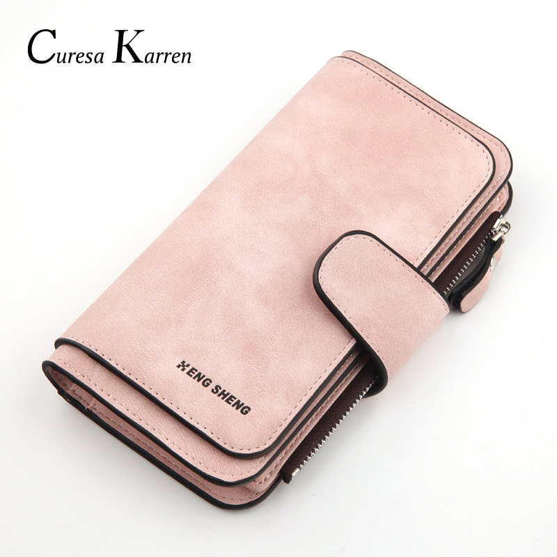 New Hot Women's Zipper Buckle Design Long Wallet Fashion, Casual, Solid Color, Simple Long Leather Clutch Purse