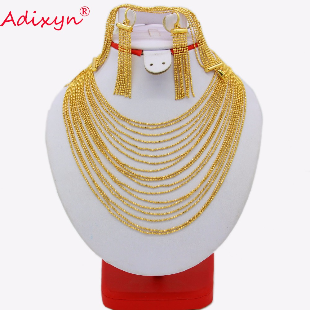 купить Adixyn Tassels Necklace/Earrings/Bracelet Set for Women Gold Color Jewelry India/Dubai/Ethiopian Wedding/Party Gifts N03121 недорого