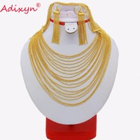 Adixyn Tassels Necklace/Earrings/Bracelet Set for Women Gold Color Jewelry India/Dubai/Ethiopian Wedding/Party Gifts N03121