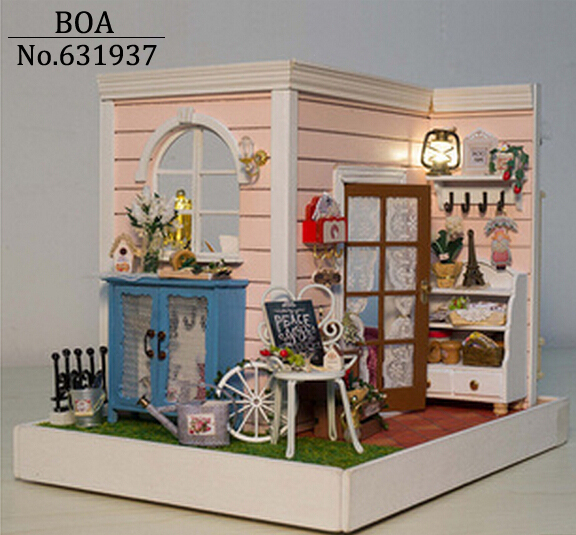 New Arrive Diy Doll House Miniature Handmade Assembled Model Building Kit Birthday Gifts Wooden Dollhouse Toy-Gindy's Happy Hour wooden handmade dollhouse miniature diy kit caravan