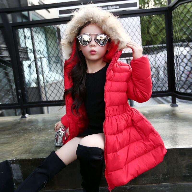 Fashion Girls Down Jacket Coats Slim Children Outerwear Winter Snow Wear Kids Parka Hooded Coat With Faux Fur Collar