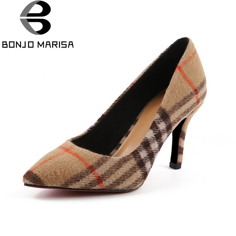 BONJOMARISA BONJOMARISA New women's Spike High Heels Pointed Toe slip-on Shallow Shoes Woman Casual Spring Pumps Big Size 34-43 fast arrival hspy30v 10a dc programmable power supply output of 0 30v 0 10a adjustable rs232 port