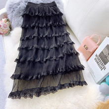AcFirst Spring Women Skirts Fashion High Waist Pleated Lace Skirt Ankle-Length Long Chiffon Clothing Mesh Transparent