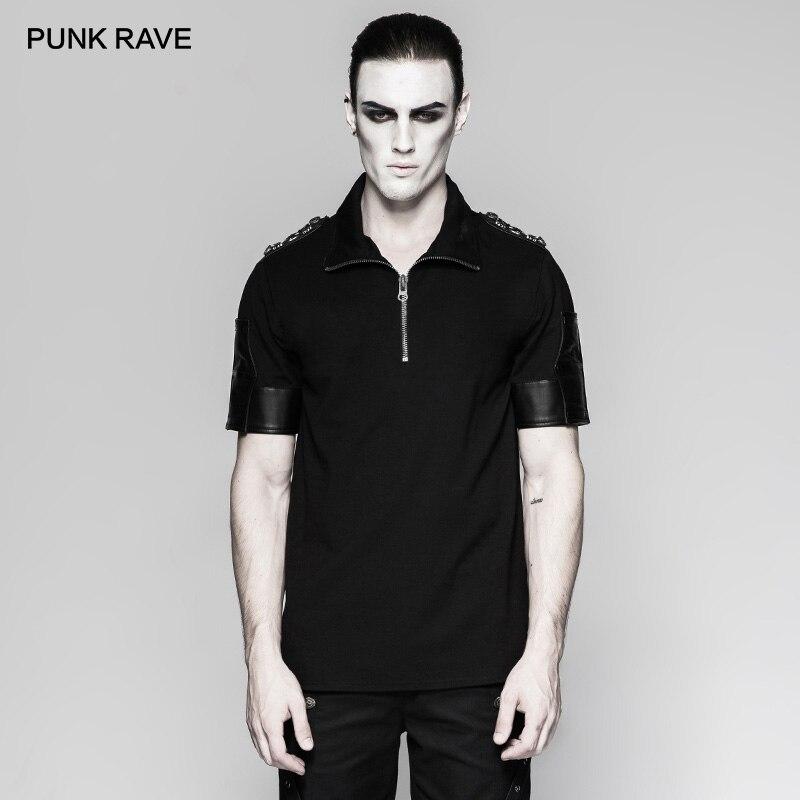PUNK RAVE hommes uniforme militaire Sniper noir T-Shirt décontracté beaux hommes hauts t-shirts avec PU cuir étoiles bouton décoration
