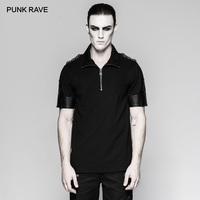 PUNK RAVE Men's Military Uniform Sniper Black T Shirt Casual Handsome Men Tops Tees with PU Leather Stars Button Decorating
