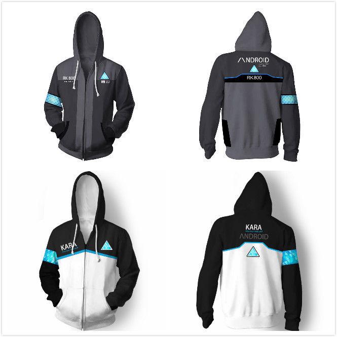 DBH Detroit: Become Human Connor RK800 Kara Zipper Hoodie Hood Jacket Coat Uniform Cosplay Costume Sweatshirt Outfit