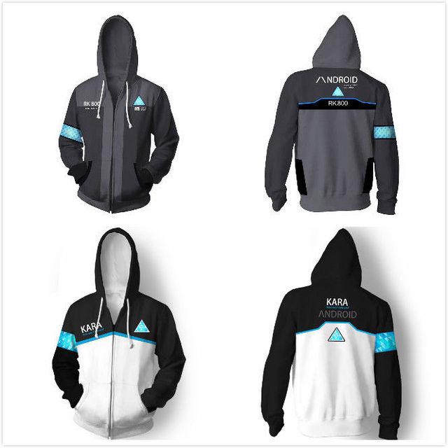 dbh detroit become human connor rk800 kara zipper hoodie hood