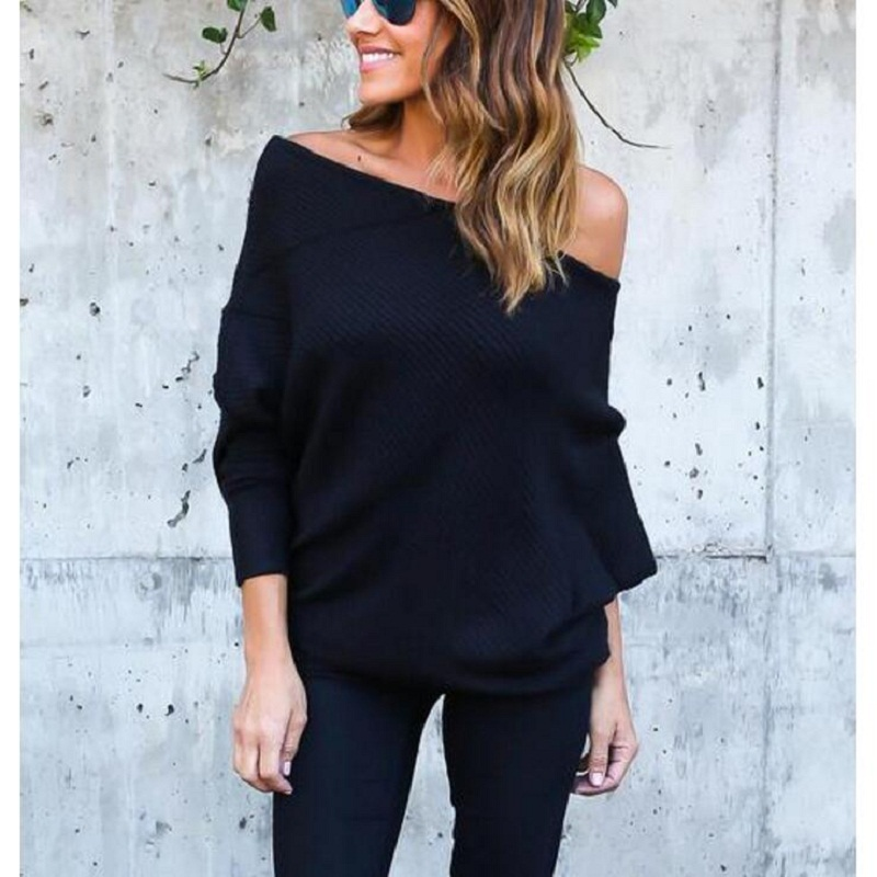 Winter Women Knitted Sweater Long Sleeve Sexy Slash Neck Off Shoulder  Sweater Solid Color Pullover Sweater
