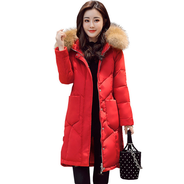 Rode Winterjas.Vrouwen Donsjack Jas Real Bontkraag Winterjas Vrouwen Hooded Rode