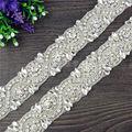 1 Yard Rhinestone Applique trim Bridal Wedding Applique for Bridal Sash Belt DIY