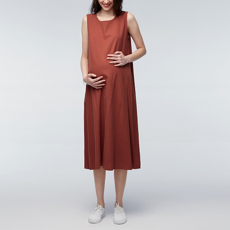 Maternity Clothing 2018 Summer Sexy Sleeveless Vintage Solid Dress Pregnant Women Casual Loose Pregnancy Vestidos Plus Size 5XL