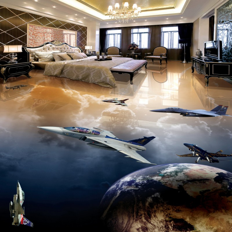 ФОТО Free Shipping floor sticker Fighter Planet Earth wallpaper restaurant walkway non-slip self-adhesive floor mural