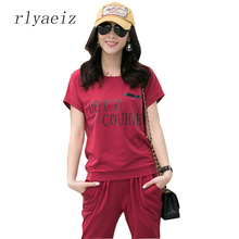 RLYAEIZ New Printed Letter 2 Piece Set 2017 Casual Women Tracksuits T-shirts + Calf-length Pants Sporting Suits Plus Size 4XL