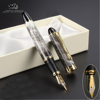 1PCS Hot High Quality Black Luxury Office School Stationery Material Supplies Fountain Pen Full Metal Golden