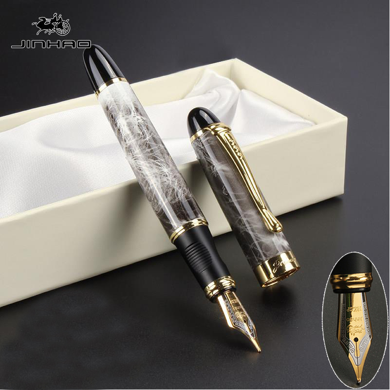 1PCS Jinhao 450 High Quality Black luxury office school Stationery material supplies Fountain Pen Full metal Golden Clip 03813