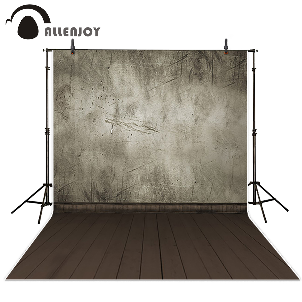 Allenjoy gray concrete scratch wall photography backdrop wood floor kid baby shower portrait wallpaper background photo studio special hard concrete nails wall paintings nail