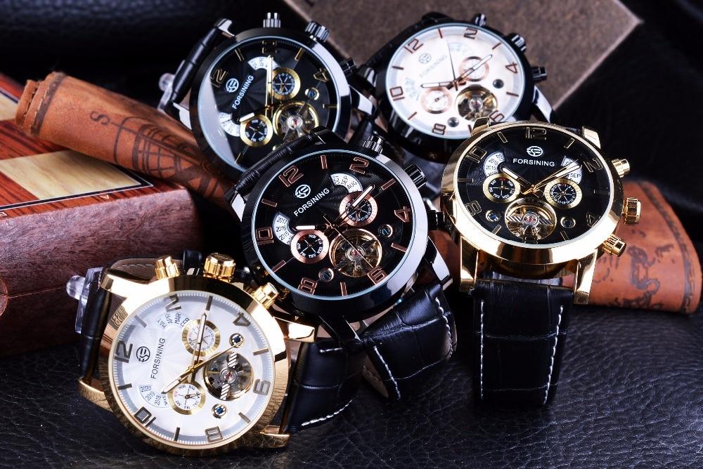 Forsining Tourbillion Fashion Wave Black Golden Clock Multi Function Display Mens Automatic Mechanical Watches Top Brand Luxury