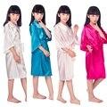 D16811 2016 Cetim Pijama Miúdo/Crianças Sleepwear meninas Da Flor Do Casamento Vestido de Vestes Kimono de Alta Qualidade Cor Sólida Camisola